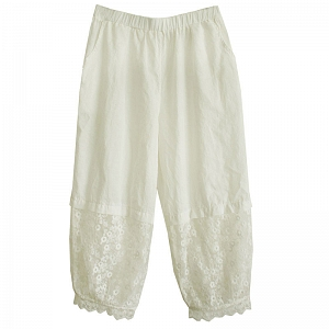 Mori Girl Lace Joint Cotton Lantern Pants by Mucha