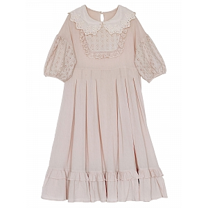 Mori Girl Peter Pan Collar Puff Sleeves Dress by Mucha