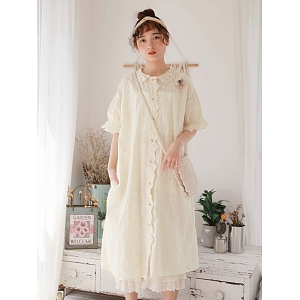 Lace Collar Embroidery Dress by Mucha
