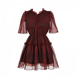 Wine Red Chiffon Dress by MUCHA
