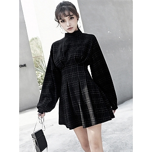Black Plaid Long Sleeves High Waist Dress by MUCHA