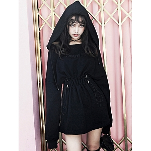 Black Hooded Off-the-shoulder Dress by MUCHA