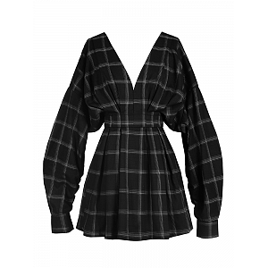 Black Plaid High Waisted Long Sleeves Dress by MUCHA