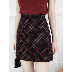 Red and Black Plaid Mini Skirt by MUCHA