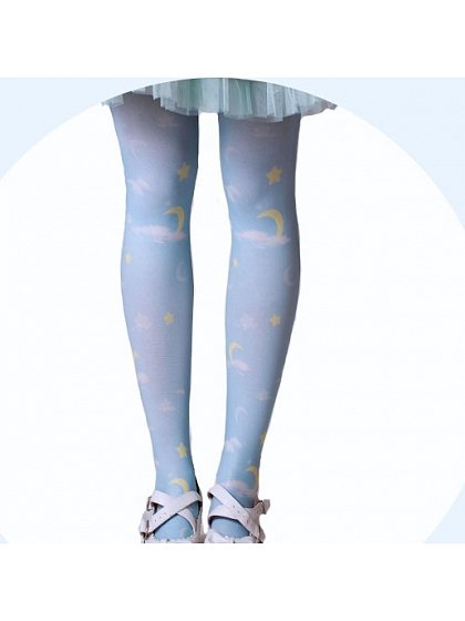 Cloud and Moon Printed Pantyhose by MuFish