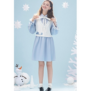 Frozen II Fake Two-pieces Dress by MWXP