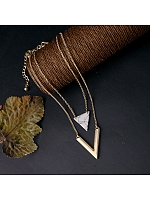 Detachable Natural Stone Triangle Pendant Neckline