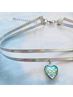 Mermaid Laser Double-Layer Heart Necklace Choker