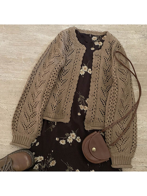 Hollow Coffee Cardigan by No Worries