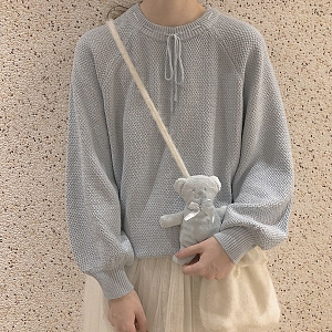 Drawstring Neck Sweater by No Worries