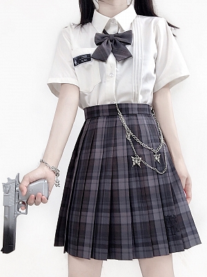 PINK SAVIOR and Junji Ito Collaboration Tomie JK Uniform Plaid Skirt by PINK SAVIOR