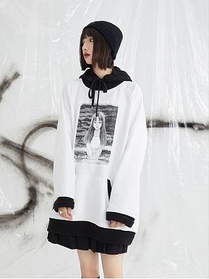 PINK SAVIOR and Junji Ito Collaboration Tomie Prints Hoodie by PINK SAVIOR