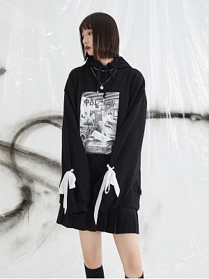 PINK SAVIOR and Junji Ito Collaboration Record Bowknot Hoodie by PINK SAVIOR