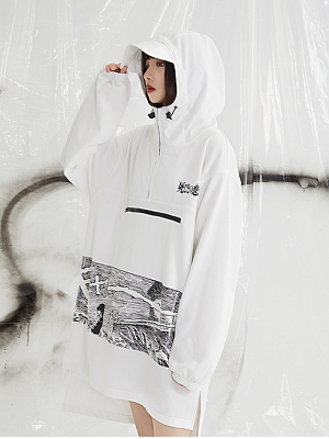 PINK SAVIOR and Junji Ito Collaboration White Clothe Youth Hoodie by PINK SAVIOR