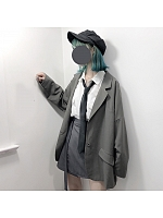 Gray And Black Two-Color Casual Suit Skirt Sets By Pinksavior