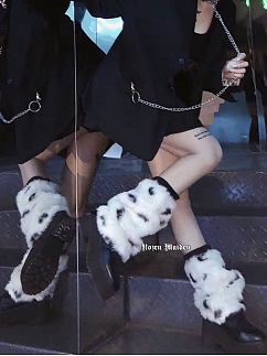 Harajuku Style Black and White Shaggy Calf Legwear by Rozen Maiden