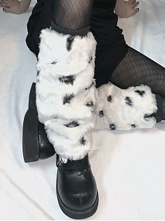 [Limited Edition] Shaggy Black and White Dapple Calf Legwear by Rozen Maiden