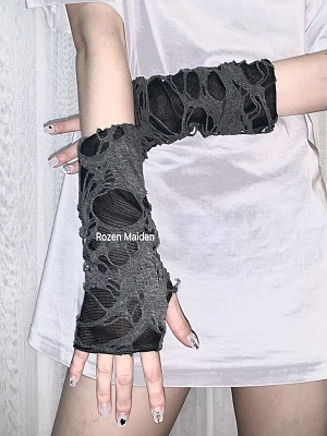Punk Fingerless Gloves Broken Hole by Rozen Maiden