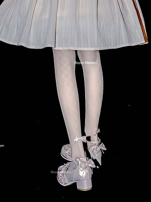 Jacquard Cross Bowknot Creamy White Tights by Rozen Maiden