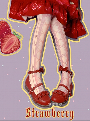 Strawberry Cross-print Pink Tights by Rozen Maiden