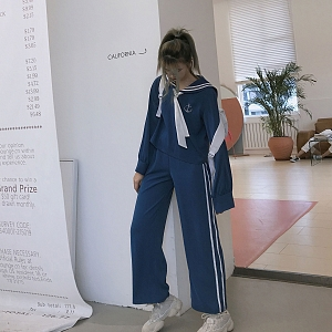 Navy Style Sports And Leisure Street Outfit Sets By SanKouSan