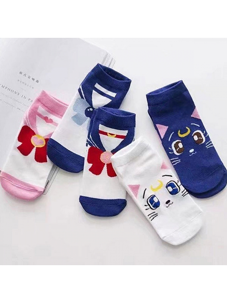 60029f08773 Sailor Moon Luna Cat Pattern Socks