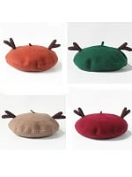 Antlers Single Color Woollen Beret