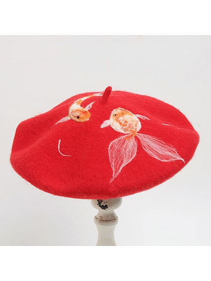 Red Propitious Fancy Carp Woollen Beret by SOSO