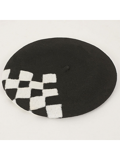 Black And White Squares WoollenBeret by SOSO