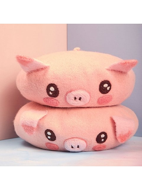 Cute Pink Piggy Woollen Beret by SOSO