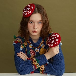 Mushroon and Cloud Woollen Decorative Beret by SOSO