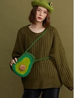Green Avocado Woollen Shoulder Bag by SOSO
