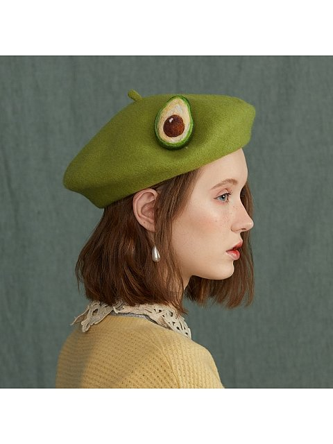 Green Avocado Woollen Beret by SOSO