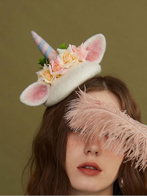 Flower Unicorn Woollen Decorative Beret by SOSO