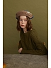 Two-tone Faux Pearl Decorated Beret by SOSO