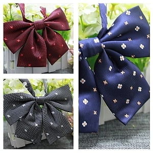 Flower Embroidery Bowknot Pre-tied Bow Tie