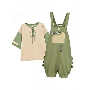 Kawaii Dragon Cat Two-tone Shirt and Overall by Mori Tribe
