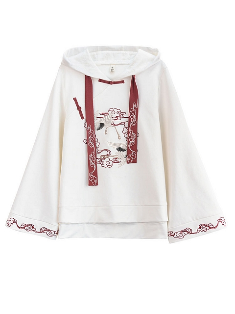 Baggy Chinese Embroidery Hoodie by Mori Tribe
