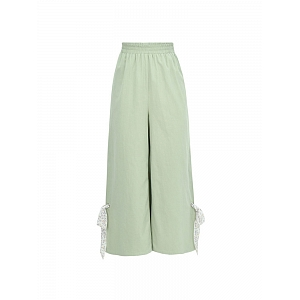 Solid Elastic Waist Wide Leg Pants by Mori Tribe