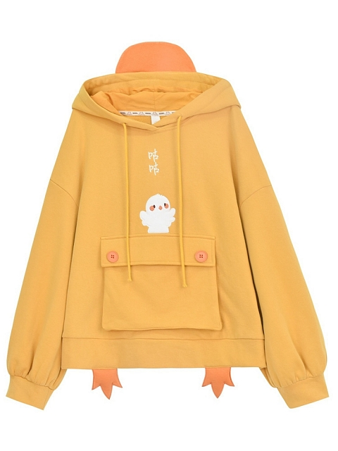 Little Duck and Chick Hoodie by Mori Tirbe