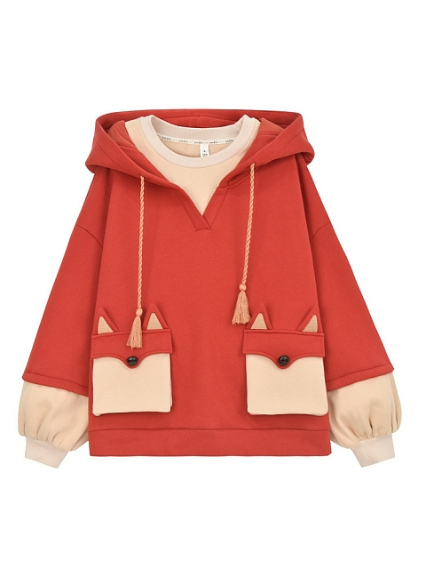 Fox Fake Two-pieces Hoodie by Mori Tribe