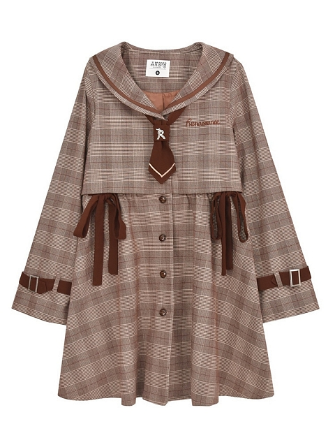 Italy Pastoral Plaid Fake Two-pieces Windbreaker by Mori Tribe