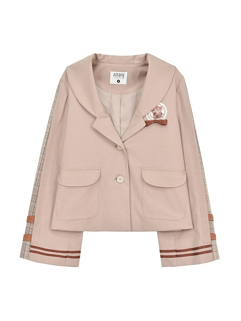 Chocalate Bear College Style Blazer by Mori Tribe