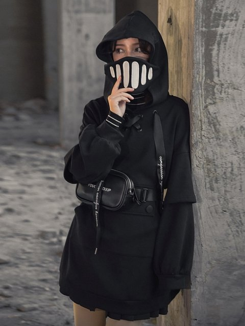 Knight Black Fake Two-pieces Hoodie by Mori Tribe