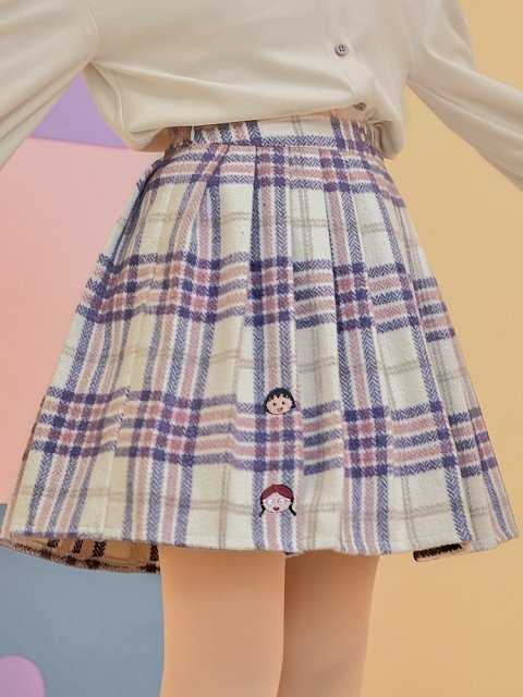 Chibi Maruko-chan Co-branded Purple Skirt by Mori Tribe