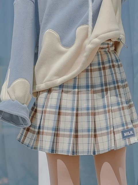 Blue and Brown Plaid Skirt by Mori Tribe