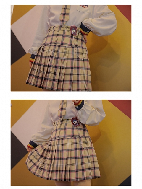 Chibi Maruko-chan Co-branded Yellow Plaid Skirt by Mori Tribe