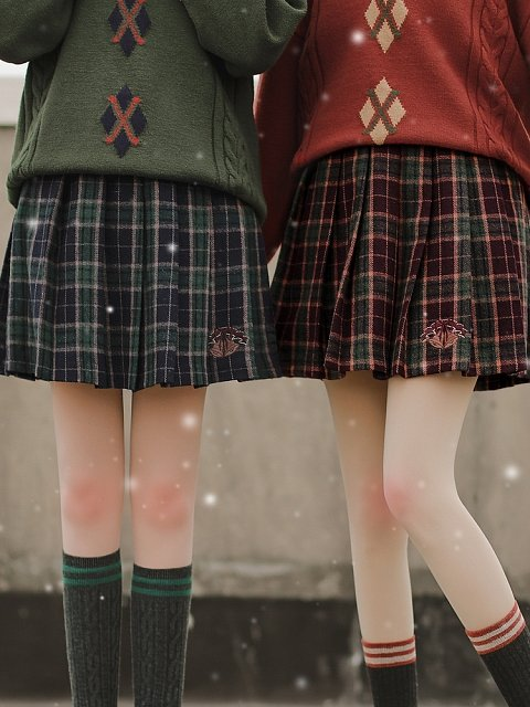 Christmas Plaid Skirt by Mori Tribe