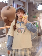 Fake Two Pieces Rabbit and Bear Prints T-shirt by Mori Tribe