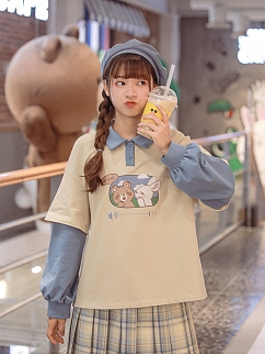 False Two Pieces Rabbit and Bear Prints T-shirt by Mori Tribe